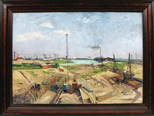 Gemälde Hafenbau