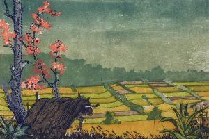 Mühlner Holzschnitt Kapok mit Reisfeld