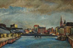 Gemälde Drehbrücke W. Ohler